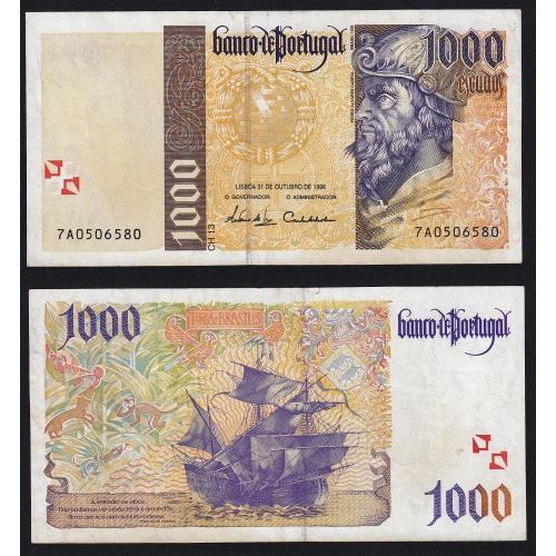 Nota de 1000 Escudos 1996 Pedro Alvares Cabral, 1000$00 31/10/1996 Chapa: 13 - Banco de Portugal (Pouco Circulada)