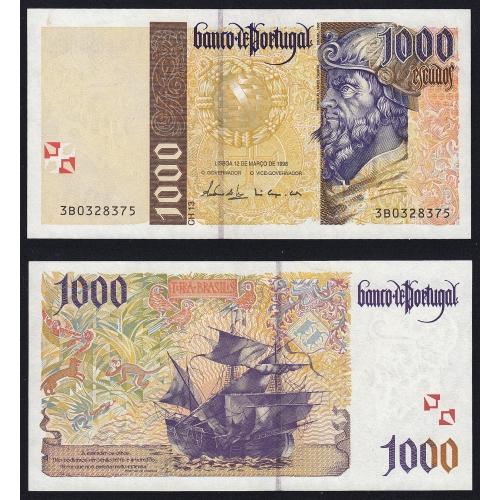 Nota de 1000 Escudos 1998 Pedro Alvares Cabral, 1000$00 12/03/1998 Chapa: 13 - Banco de Portugal (Pouco Circulada)