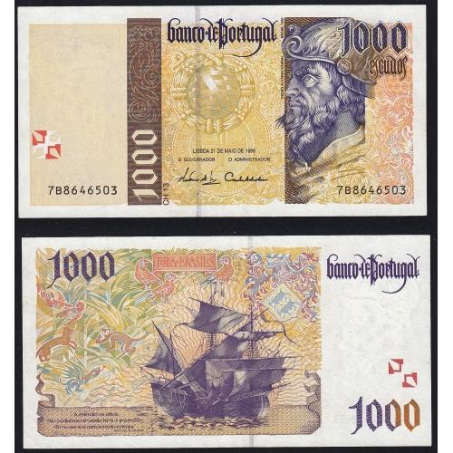 Nota de 1000 Escudos 1998 Pedro Alvares Cabral, 1000$00 21/05/1998 Chapa: 13 - Banco de Portugal (Pouco Circulada)