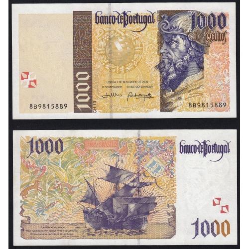Nota de 1000 Escudos 2000 Pedro Alvares Cabral, 1000$00 07/11/2000 Chapa: 13 - Banco de Portugal (Pouco Circulada)