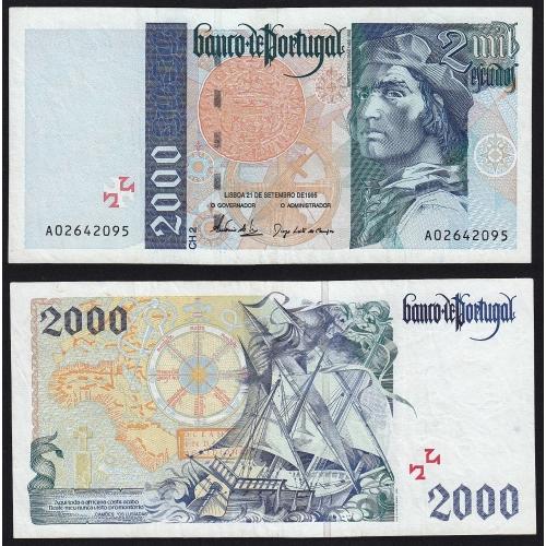Nota de 2000 Escudos 1995 Bartolomeu Dias, 2000$00 21/09/1995 Chapa: 2 - Banco de Portugal (Pouco Circulada)