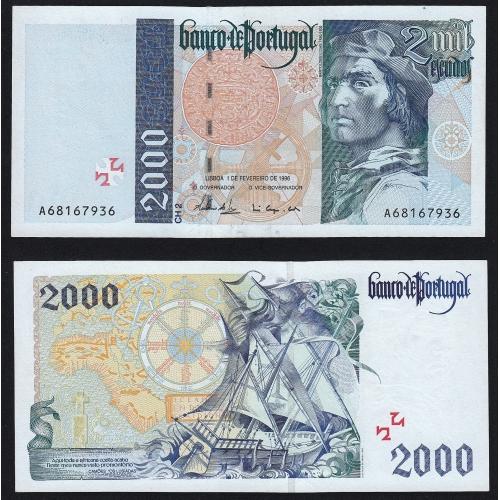 Nota de 2000 Escudos 1996 Bartolomeu Dias, 2000$00 01/02/1996 Chapa: 2 - Banco de Portugal (Pouco Circulada/Nova)