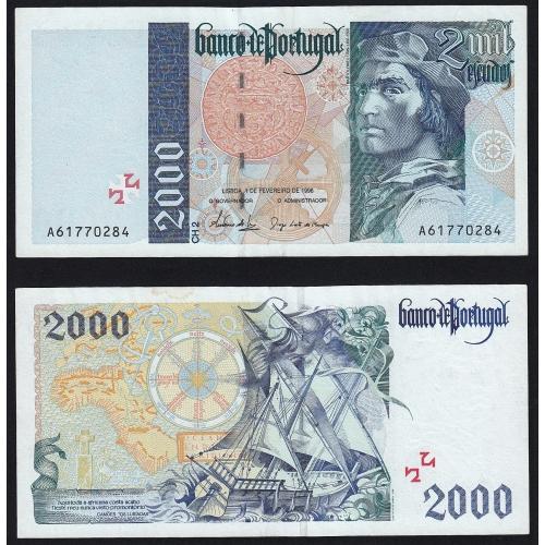 Nota de 2000 Escudos 1996 Bartolomeu Dias, 2000$00 01/02/1996 Chapa: 2 - Banco de Portugal (Pouco Circulada)