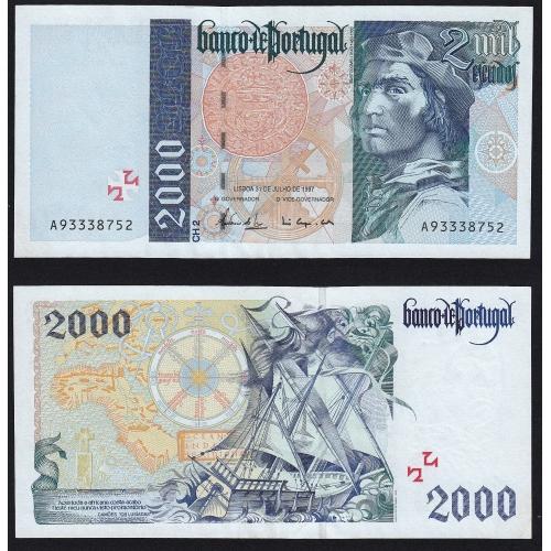 Nota de 2000 Escudos 1997 Bartolomeu Dias, 2000$00 31/07/1997 Chapa: 2 - Banco de Portugal (Não Circulada)
