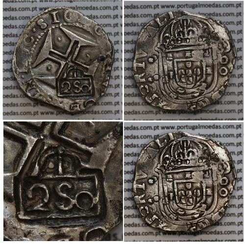 """Carimbo de 250 Réis de D. Afonso VI, sobre Meio Cruzado Prata de D. João IV, carimbo """"2S0"""",  World Coins Portugal KM 434.1"""