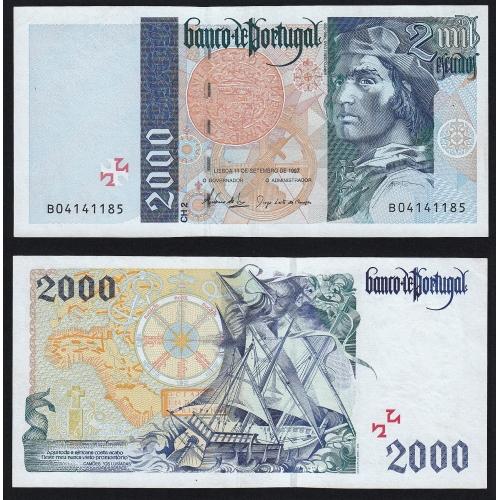 Nota de 2000 Escudos 1997 Bartolomeu Dias, 2000$00 11/09/1997 Chapa: 2 - Banco de Portugal (Pouco Circulada/Nova)