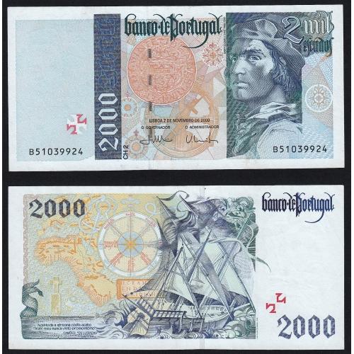 Nota de 2000 Escudos 2000 Bartolomeu Dias, 2000$00 07/11/2000 Chapa: 2 - Banco de Portugal (Pouco Circulada/Nova)