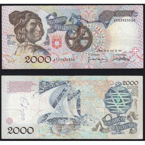 Nota de 2000 Escudos 1991 Bartolomeu Dias, 2000$00 23/05/1991 Chapa: 1 - Banco de Portugal (Circulada)