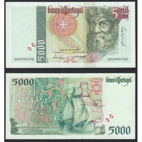 Nota de 5000 Escudos 1995 Vasco da Gama, 5000$00 05/01/1995 Chapa: 3 - Banco de Portugal (Pouco Circulada)