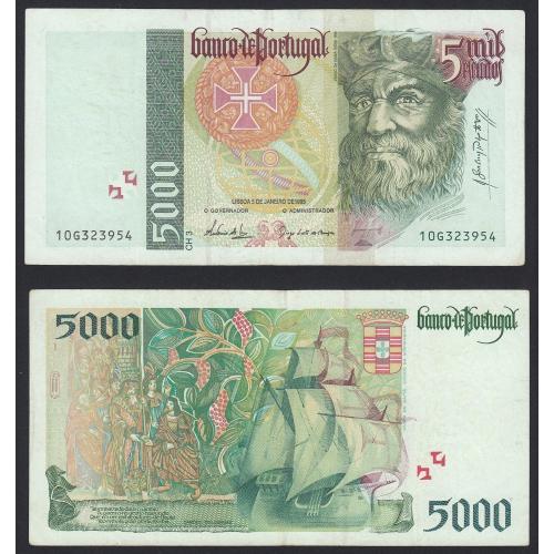 Nota de 5000 Escudos 1995 Vasco da Gama, 5000$00 05/01/1995 Chapa: 3 - Banco de Portugal (Circulada)