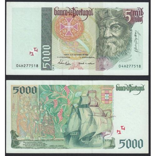 Nota de 5000 Escudos 1996 Vasco da Gama, 5000$00 12/09/1996 Chapa: 3 - Banco de Portugal (Pouco Circulada)