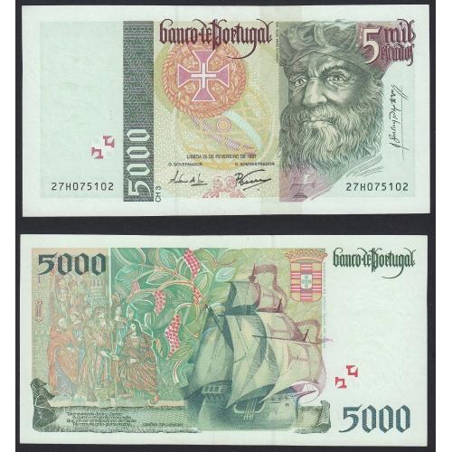 Nota de 5000 Escudos 1997 Vasco da Gama, 5000$00 20/02/1997 Chapa: 3 - Banco de Portugal (Pouco Circulada/Nova)