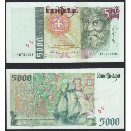 Nota de 5000 Escudos 1997 Vasco da Gama, 5000$00 20/02/1997 Chapa: 3 - Banco de Portugal (Pouco Circulada)