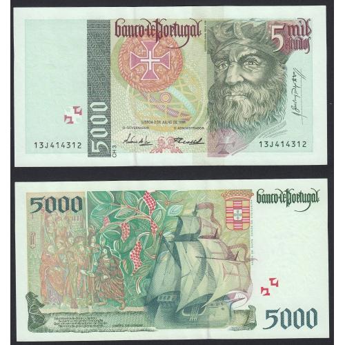 Nota de 5000 Escudos 1998 Vasco da Gama, 5000$00 02/07/1998 Chapa: 3 - Banco de Portugal (Pouco Circulada/Nova)