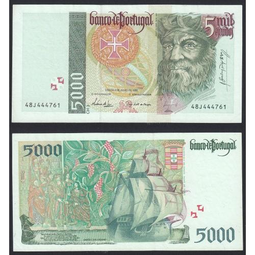 Nota de 5000 Escudos 1998 Vasco da Gama, 5000$00 02/07/1998 Chapa: 3 - Banco de Portugal (Pouco Circulada)