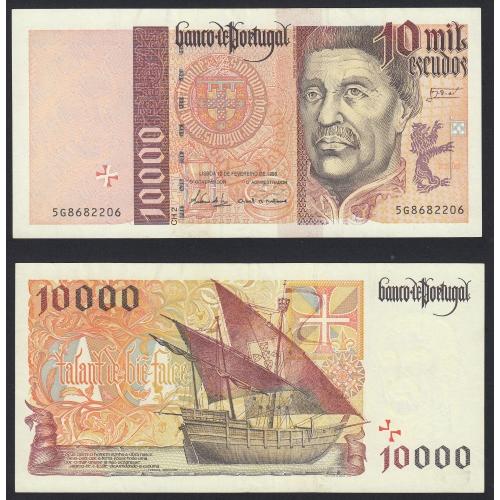 Nota de 10000 Escudos 1998 Infante D.Henrique, 10000$00 12/02/1998 Chapa: 2- Banco de Portugal (Pouco Circulada/Nova)