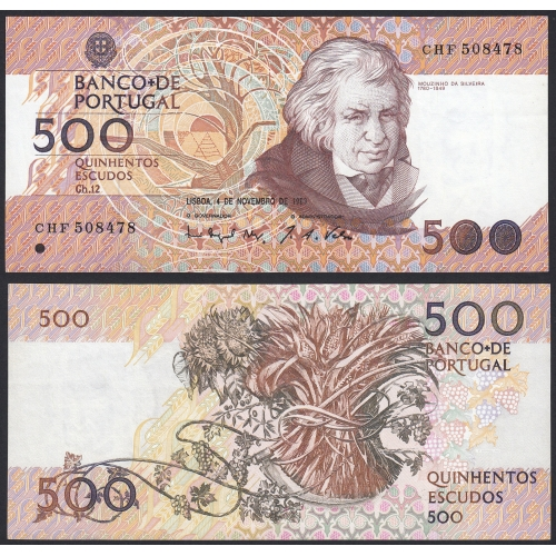 Nota de 500 Escudos 1993 Mouzinho da Silveira, 500$00 04/11/1993 Chapa: 12 - Banco de Portugal (Pouco Circulada)