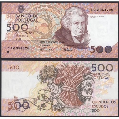 Nota de 500 Escudos 1994 Mouzinho da Silveira, 500$00 29/09/1994 Chapa: 12 - Banco de Portugal (Não Circulada)