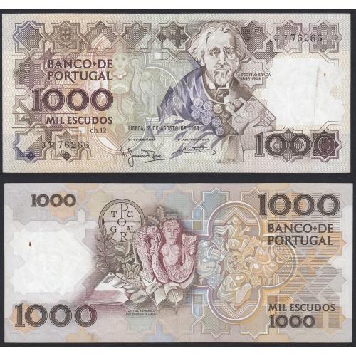 Nota de 1000 Escudos 1983 Teófilo Braga, 1000$00 02/08/1983 Chapa: 12 - Banco de Portugal (Circulada)