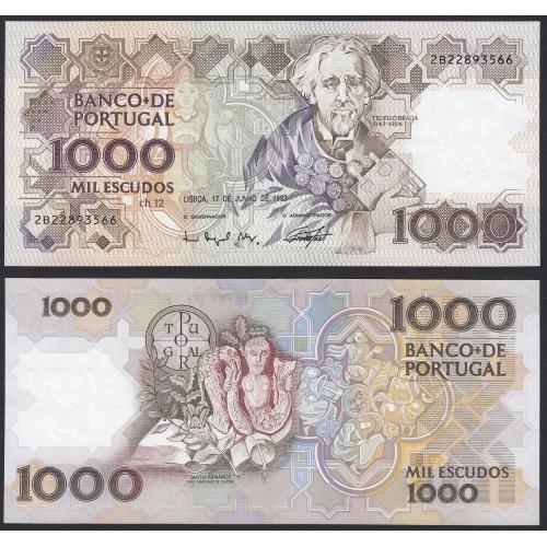 Nota de 1000 Escudos 1993 Teófilo Braga, 1000$00 17/06/1993 Chapa: 12 - Banco de Portugal (Muito Pouco Circulada)