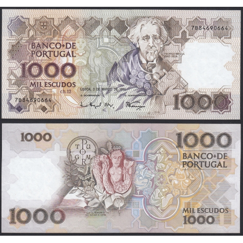 Nota de 1000 Escudos 1994 Teófilo Braga, 1000$00 03/03/1994 Chapa: 12 - Banco de Portugal (Não Circulada)