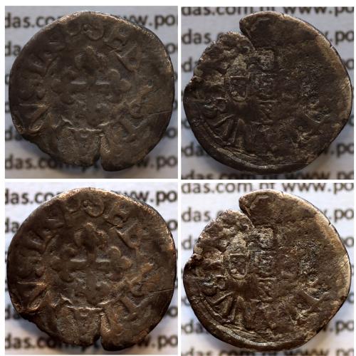 Meio Vintém prata D. Sebastião I (1557 -1578), (10 reais prata), Legenda: SEBASTIANVS•I•R•P• / SEBASTIANVS•I•R•P•