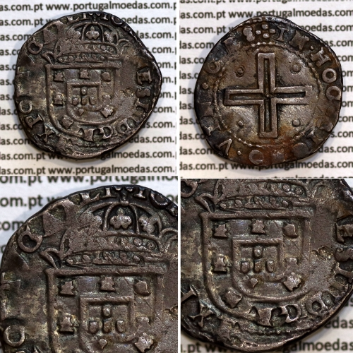 Tostão Prata  D. João IV 1640-1656, 100 Reais prata, Inédito, Legenda: ✤IOANNES IIII DG REX PORTVGAALI / ✤INHOC.SIGNO.VIN.CES