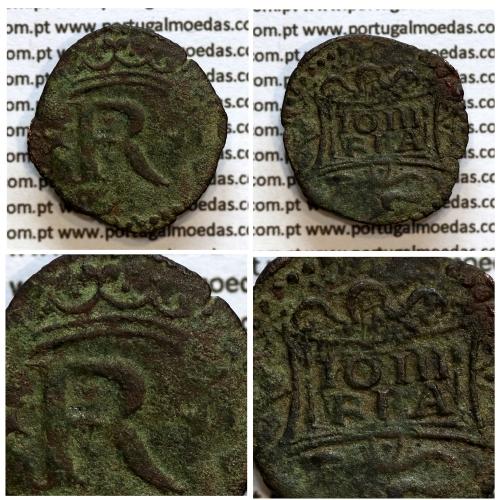 Real cobre D. João III 1521-1557, Coroa sem arruelas, Legenda: ✘R ✘ / IO III - R P A