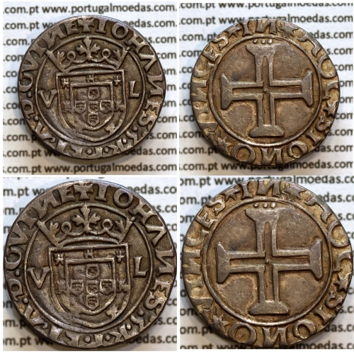 Moeda Tostão Prata D. João III 1521-1557, (Lisboa) 100 Reais Prata, Legenda: ✚IOHANES:3:R:P:ET:A:D:GVINE / ✶IN✶HOC✶SIGNO✶VINCES