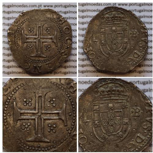 MOEDA TOSTÃO - PRATA 1598-1621 / MUITO RARA - REVERSO CRUZ CERCADA POR 12 PONTOS - D. FILIPE II