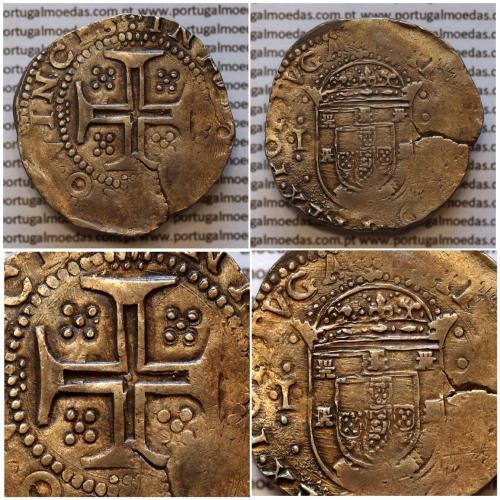 """Tostão Prata de D. Filipe II 1598-1621, Inédita, variantes Raras, Reverso Cruz cercada por 3 pontos """"︙"""" em cada haste"""