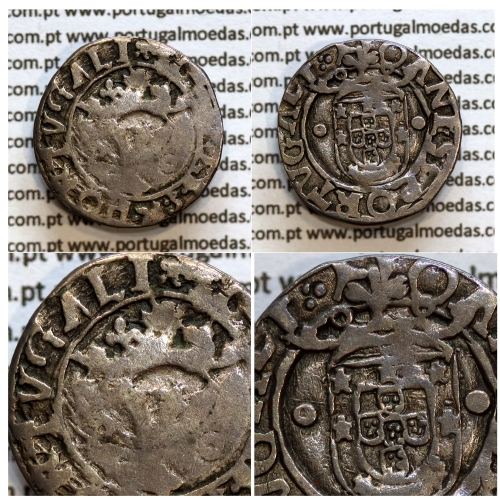 Vintém prata de D. João III 1521-1557, Variante não catalogada, Legenda: ∷λ IOANES:3:R:PORTVGALI / ∵λ IOANES:3:PORTVGALI