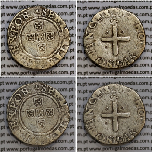 Meio Tostão prata, D. Sebastião I (1557 -1578), Não classificada, Legenda: ▴SEBASTIANVS:I:REX.POR /▴IN▴HOC▴SIGNO▴VINCES