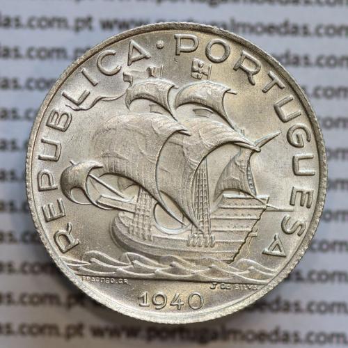 5$00 prata 1940, cinco escudos em prata de 1940 (SOBERBA) -  REPÚBLICA PORTUGUESA