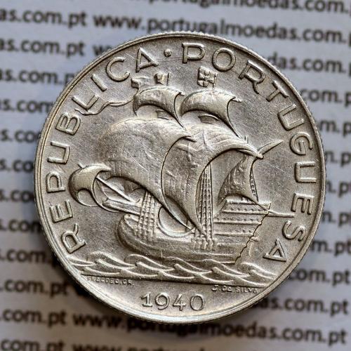 5$00 prata 1940, cinco escudos em prata de 1940, (MBC) -  REPÚBLICA PORTUGUESA