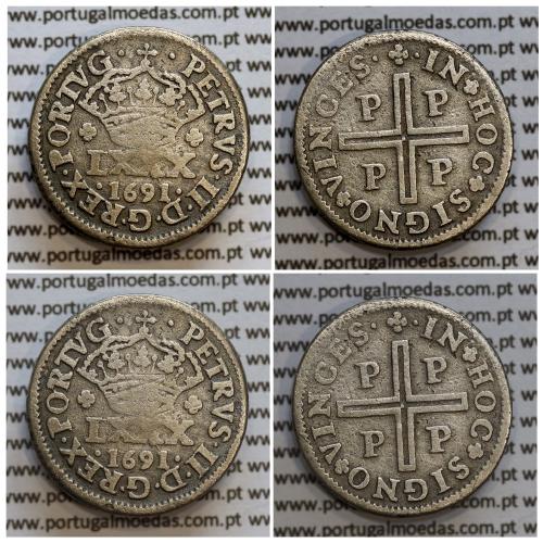 Tostão Prata 1691 D. Pedro II, Porto, 100 réis, Legenda: •PETRVS•II•D•G•REX•PORTVG• / •✤•IN✤HOC✤SIGNO✤VINCES, World Coins KM157