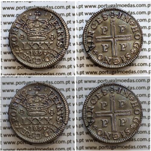 Tostão Prata 1690 D. Pedro II, Porto, 100 réis, Legenda: •PETRVS•II•D•G•REX•PORTVG• / •✤•IN✤HOC✤SIGNO✤VINCES, World Coins KM157