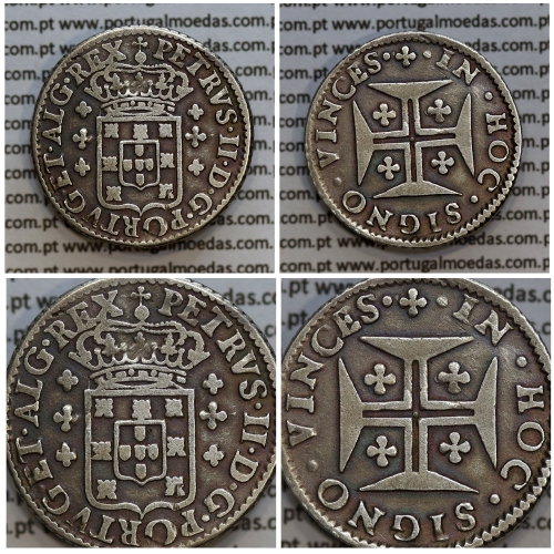 "6 Vinténs Prata D. Pedro II 1683-1706, (120 Réis), A/ coroa rei baixa, R/ •✤• cruz da ordem de Cristo ""✠"" pequena pontas largas"