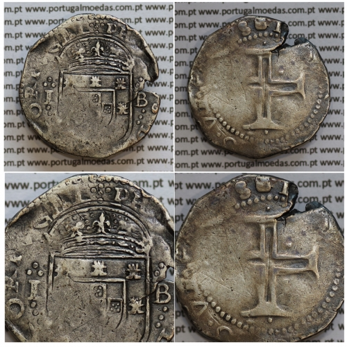 Tostão Prata de D. Filipe III 1621-1640, 100 Reais Prata, (∴ L⋱ - ∴ B ⋰)  ✣PHILIPPVS D G REX PORTVGAL / ✠IN.HOC.SIGNO.VINCES