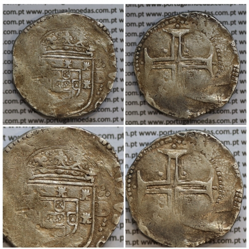 Tostão Prata de D. Filipe III 1621-1640, 100 Reais Prata, (∴ L⋱ - ∴ B ⋰)  ✣PHILIPPVS D G REX PORTVGAL / IN.HOC.SIGNO.VINCES
