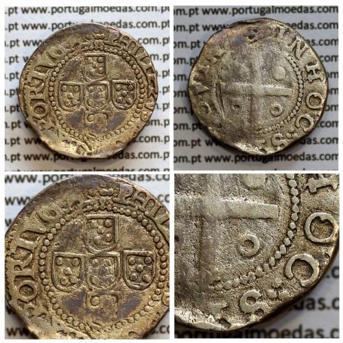 Meio Tostão Prata de D. Filipe II 1598-1621, 50 Reais Prata, Legenda:✣PHILIPPVS D G REX PORTVGA / IN HOC∴SIGNO VINCS