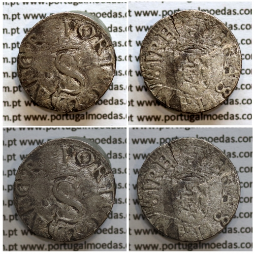 Vintém prata D. Sebastião I (1557 -1578), Vintém ou 20 Reais em prata, Legenda: •PORTVG•ET•ALGAR• / ✠SEBASTIANVS•I•REX