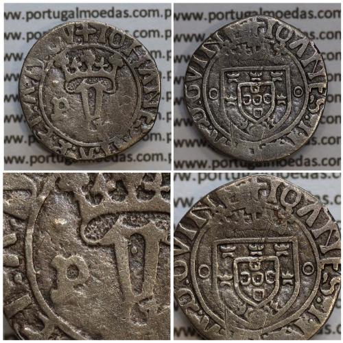 """Vintém Prata de D. João II 1481-1495, Porto, """"P"""" com ponto, Legenda: ✚IOHANES:I•I:R:P:ET:A:D:GV: / ✚IOANES:I•I:R:P:ET:A:D:GVINE"""