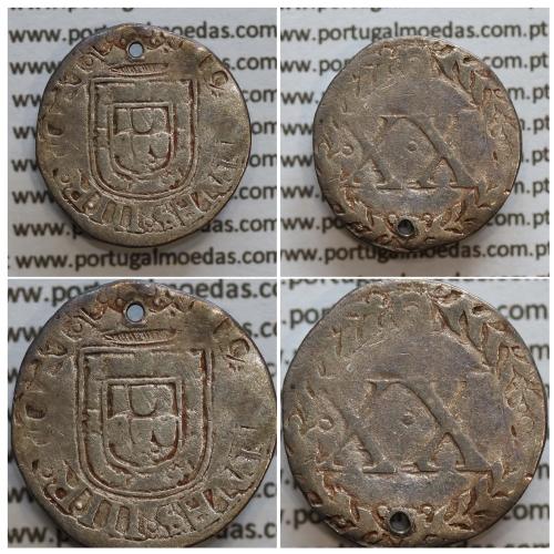 "Vintém prata de D. João III 1521-1557, (2º tipo, Marquilha ""XX"" dentro de coroa de Louros) , Legenda: IOANNES.III.R.PORT"