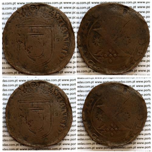 Patacão ou X Reais cobre D. Sebastião I (1557 -1578), Legenda: ☩SEBASTIANVS:I:D:G:PORT:ALGARBIORVM / o REX o SEXTVS o DECIMVS