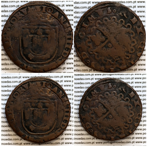 Patacão ou X Reais Cobre de D. João III 1521-1557, Legenda: ✚IOANNES:III:D:G:POR:ETALGARBIORVM / ○REX○QVINTVS○DECIMVS