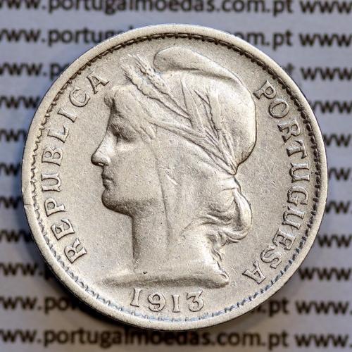 20 centavos 1913 prata, ($20 centavos prata 1913), Republica Portuguesa, (MBC), World Coins Portugal  KM 562