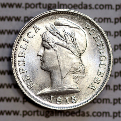 10 centavos 1915 prata, ($10 centavos prata 1915), Republica Portuguesa, (Soberba), World Coins Portugal  KM 563