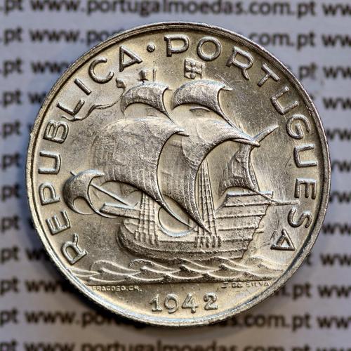 5 escudos prata de 1942, 5$00 prata 1942 -  REPÚBLICA PORTUGUESA, (Bela / Soberba), World Coins Portugal KM 581
