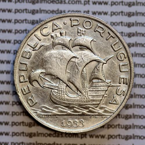 10$00 prata 1933, 10 Escudos 1933 Prata da República Portuguesa, (MBC+), World Coins Portugal KM 582